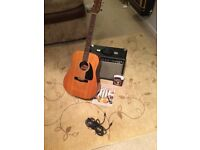 Fender electro acoustic guitar and amp