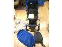 Blue Bugaboo Bee with Baby Cocoon, Wheeled Board, rain cover and umbrella clip (w/ receipt & manual)