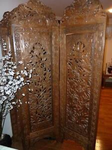 Antique Hand Carved Screen, Matching Center & Side tables. West Island Greater Montréal image 1
