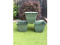 3 Square Garden Pots in Green