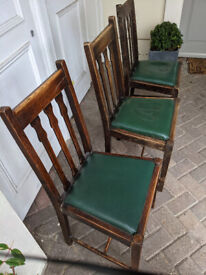 3x Arts and Crafts style wooden dining chairs