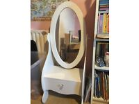 White full length children's vanity mirror unit with drawer