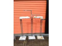 3 chrome clothes stands 2 straight arms £100 or £40 each