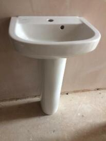 Bathroom sink and pedestal(small) only £30