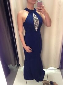 Stunning navy ball gown. Fishtail design at the bottom.