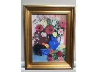 Original pastel, hand painted picture with gold frame
