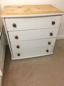 URGENT- lovely white pine chest drawers