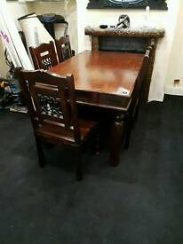 Indian sheesham / jail table and 6 chairs