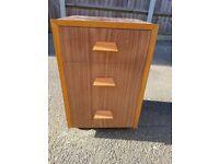 Solid wood 3 draw bedside unit
