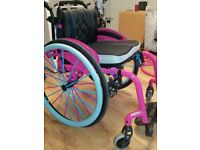 """Quickie xenon wheelchair active folding frame pink nearly new 16"""""""