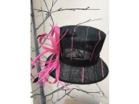 HAT Black and pink, Sinamay. 56cm. Hair piece, Fascinator Wedding Races Ascot Mother of the Bride