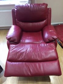 Leather Reclining Armchair for sale in Wine Red