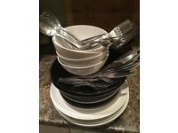 Full set of dinnerware and silverware- Ikea