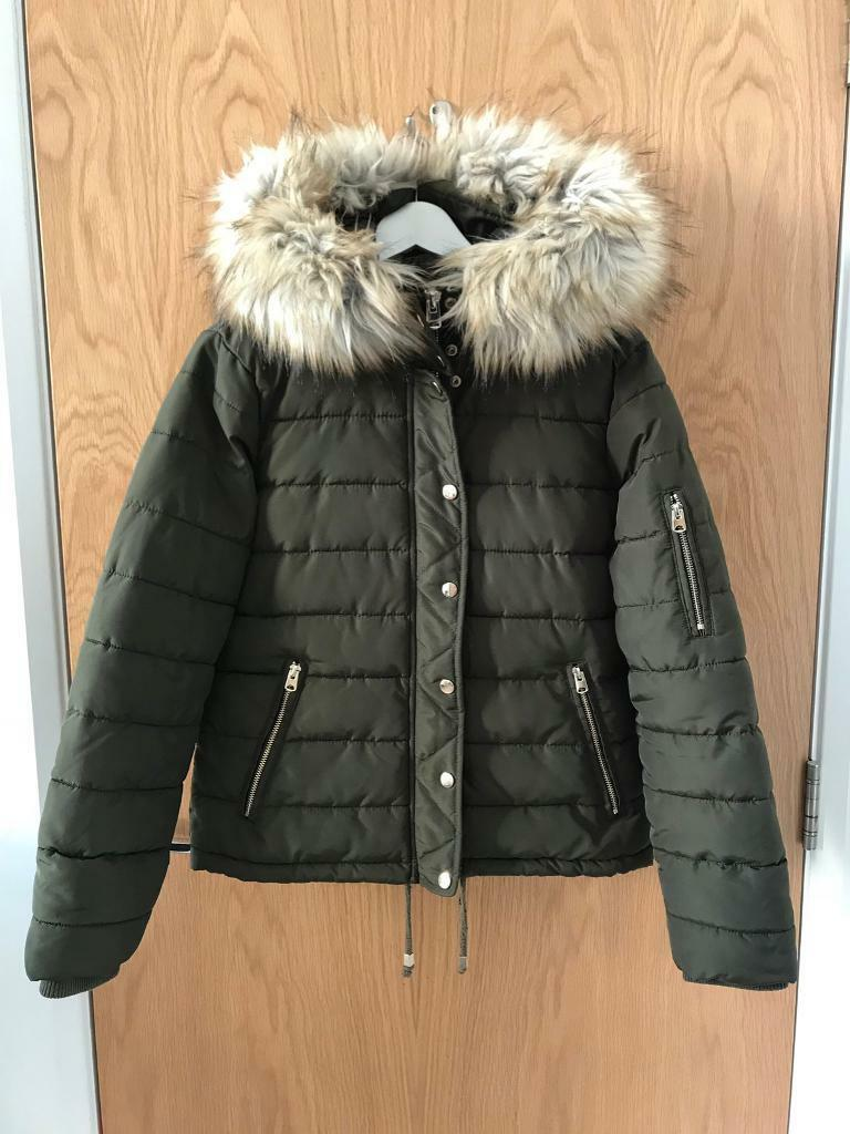 144cab719 TOPSHOP Puffer Jacket with Removable Faux Fur Trim | in Juniper Green,  Edinburgh | Gumtree