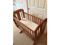 REDUCED: Cosatto Swinging / Glider Crib / Cot, wooden with John Lewis sheets & mattress