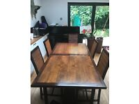 Dining tables with 6 dining chairs in bamboo and teak wood