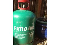 Gas patio container, 13kg nearly full, for BBQ or patio heater