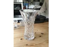 Crystal glass large flower vase,very high quality and heavy.