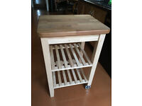 Kitchen trolley / Solid wood / African Iroko & Birch W47xD57cm and H86cm