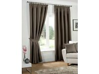 Kliving Neva Mocha Pencil Pleat Tape Top Fully Lined Blackout Curtains