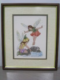 Complete Framed Tapestry Picture Of 2x Garden Fairies Fairy By Pool - Needlework-Excellent Cond