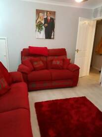 2 red sofas