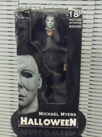 Collectible Michael Myers Halloween 18 inch High Figure with Motion Activated Sound, In Original Box