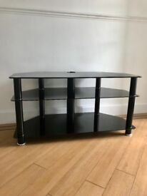 Black Glass TV Stand with Cable Management