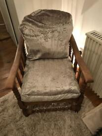 Antique chair with adjustable back