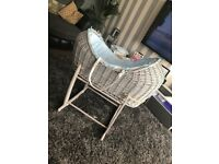 Blue and grey Moses basket