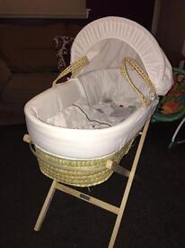 Moses basket, stand , and sleeping bag for sale!! £20