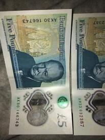Exclusive serial number 5£ pound note