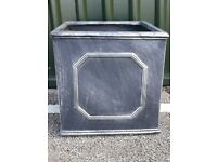 Faux lead garden planters. 45cm square. Ideal for Topiary trees or mixed planting