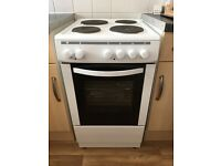 White electric cooker with hob