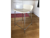 Four White Low-Back Bar/Counter Stools