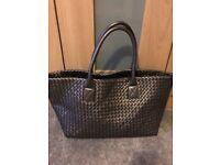 Ladies Silver Bottega Veneta Large Woven Hanbag