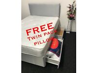 Double Grey Bed with Ortho Mattress AND 2 Drawers ***FREE TWIN PACK PILLOW**