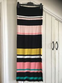Striped side split jersey maxi skirt