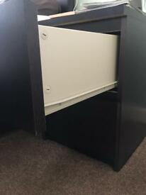 2 ikea Malm black bed side cabinets