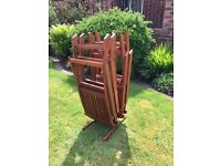 Hardwood Garden Table and Four Chairs (with storage stand and cover for chairs)