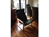 IKEA Poang Wood and black leather armchair / rocking chair