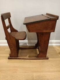 Antique oak wooden children's desk and chair