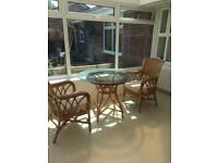 Conservatory glass top table and chairs