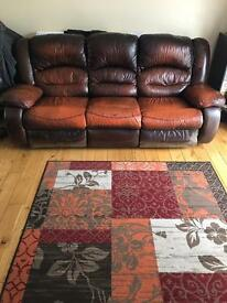 Leather 3 +2+1 seater recliner sofas