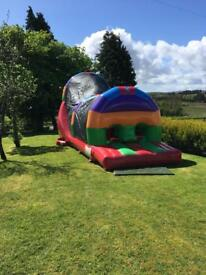 Airquee Rainbow run bouncy castle assault course for sale