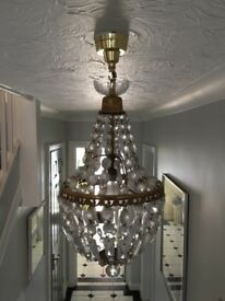Pair of pendant glass chandeliers