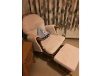 Lovely gliding nursing chair with matching gliding footstool