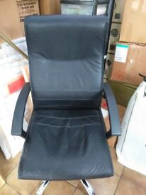 Office swivel chair, faux leather with arms