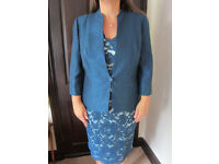 Gorgeous 'Jacques Vert' teal blue lined lace dress & lined jacket suit size 16 BNWT