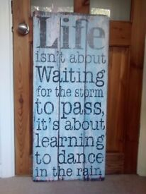 """Large drift wood wall art - """"Life is about learning to dance in the rain"""""""